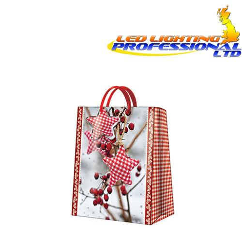 Medium WINTER ROWAN Red Stars Christmas Printed Paper Gift Present Bag
