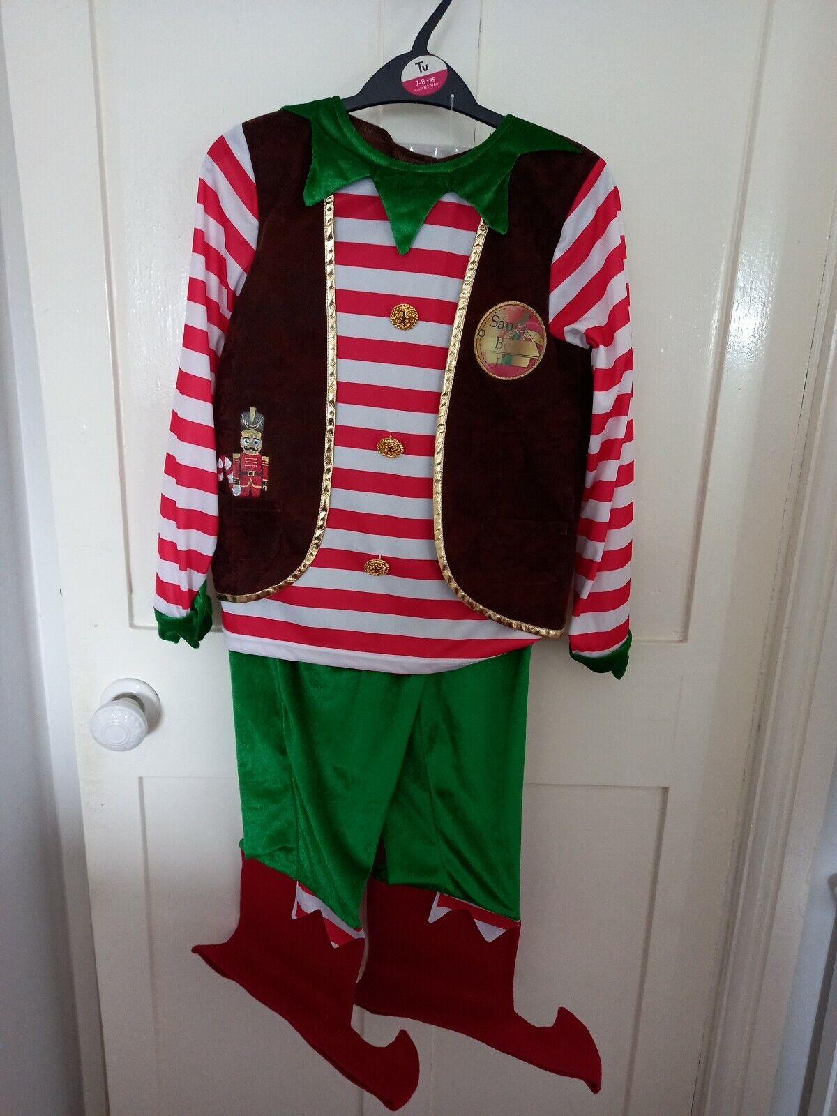 Tu - Boy's Santa's workshop Elf fancy dress costume, with tools, aged 7- 8 yrs