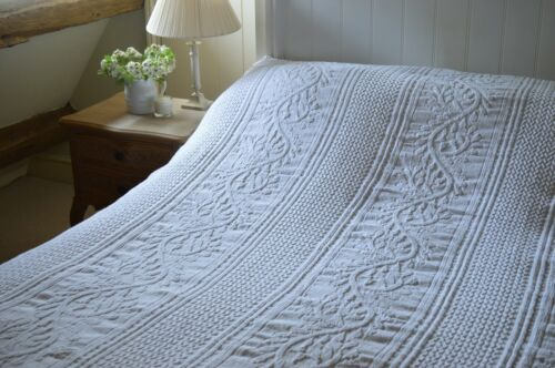 BEDSPREAD 100/% Cotton Henley White Full Size Throwover by Quayside Home