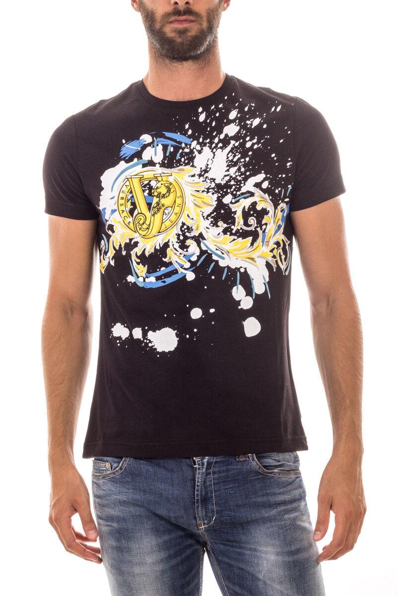 Versace Jeans Tank Top T hemd Baumwolle Herren Schwarz B3GOA780 899