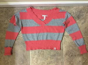 Aeropostale Womens Striped V Neck Knit Sweater
