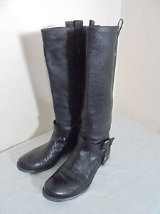 nine west take black leather knee high boots