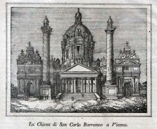 Stampa antica WIEN VIENNA Chiesa San Carlo Austria 1838 Alte Stich Antique Print