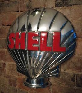 Shell-Petrol-Pump-Globe-Aluminium-Shell-half-Globe-Oil-Petrol-Vintage-Garage-oil