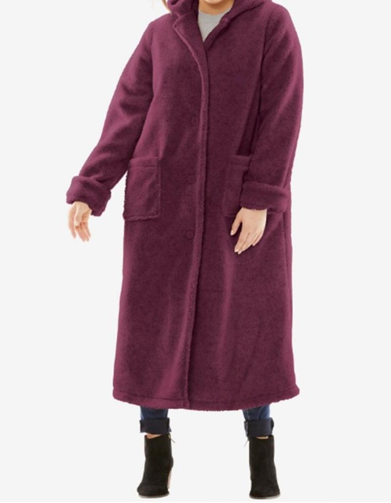 Woherrar Outkläder Winter Wastiple Work Long Hood Berber Coat plus fit 3X4X5X6X