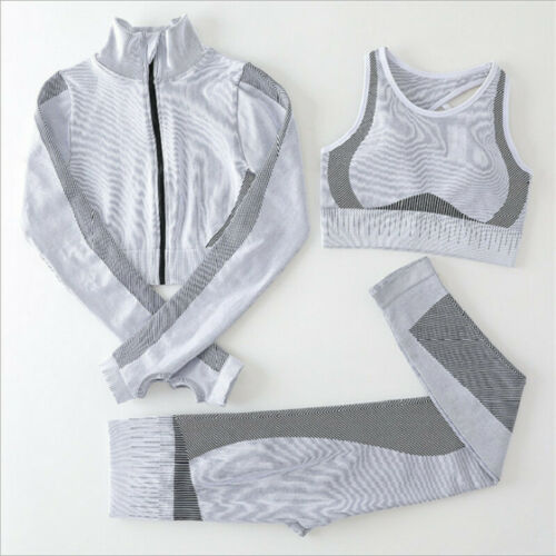 Ladies 3pc Yoga Set Fitness Gym Tracksuit Sport Bra Legging Long Sleeve Jogging