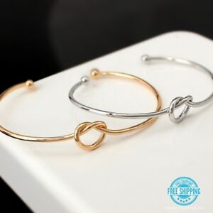 Silver-or-Gold-Plated-Simple-Minimalist-Love-Knot-Wire-Bangle-Cuff-Bracelet-USA