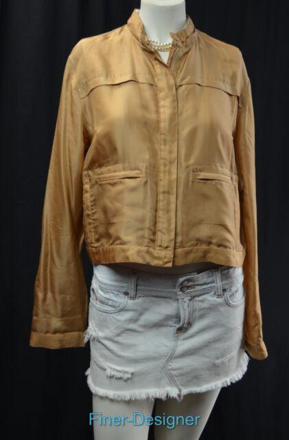 367cfc726c WORTH Zip up Moto Jacket crop light coat gold sheen 100% silk Size 10 M