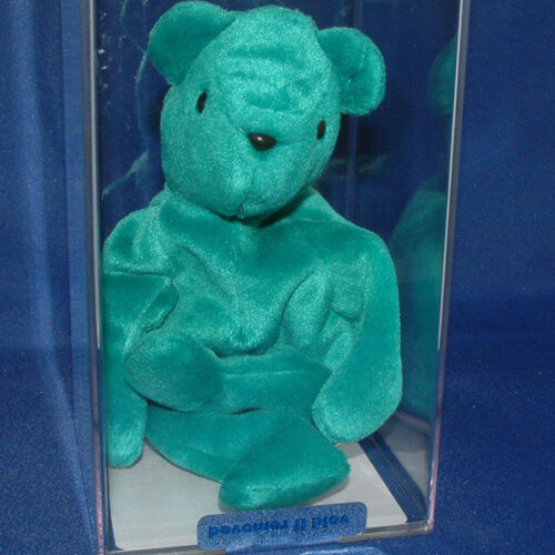 No ear tag 1st gen Ty Beanie Baby - Teal OF Teddy Authenticated 11148