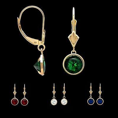 2.00CT 14K Yellow Gold Bezel Set Pear Shaped Emerald Leverback Dangle Earrings