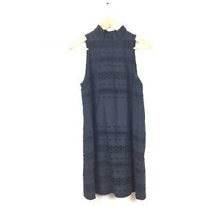 Stylestalker-Dress-S-Black-Eyelet-Halter-Sleeveless-High-Neck-Women-s-LBD