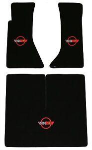 LLOYD Classic Loop BLACK FLOOR MATS C4 logos; 1984 to 1990 Chevrolet Corvette