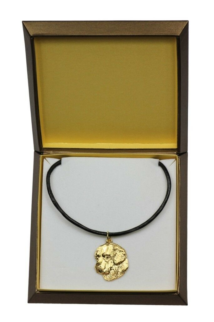oroen Retriever - oro covered necklace with dog in box, high quality Art Dog