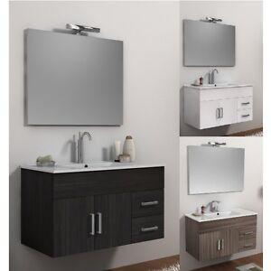 Mobile per bagno da 100cm 3 colori bianco weng larice con lavabo in ceramica 08 ebay - Mobile per bagno senza lavabo ...