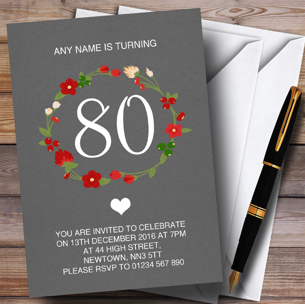 rot Floral Wreath grau Rustic 80th Personalised Birthday Party Invitations