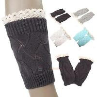 Women's Leg Warmers Lace Trim Boot Socks Button Knit Knee High Crochet Leggings