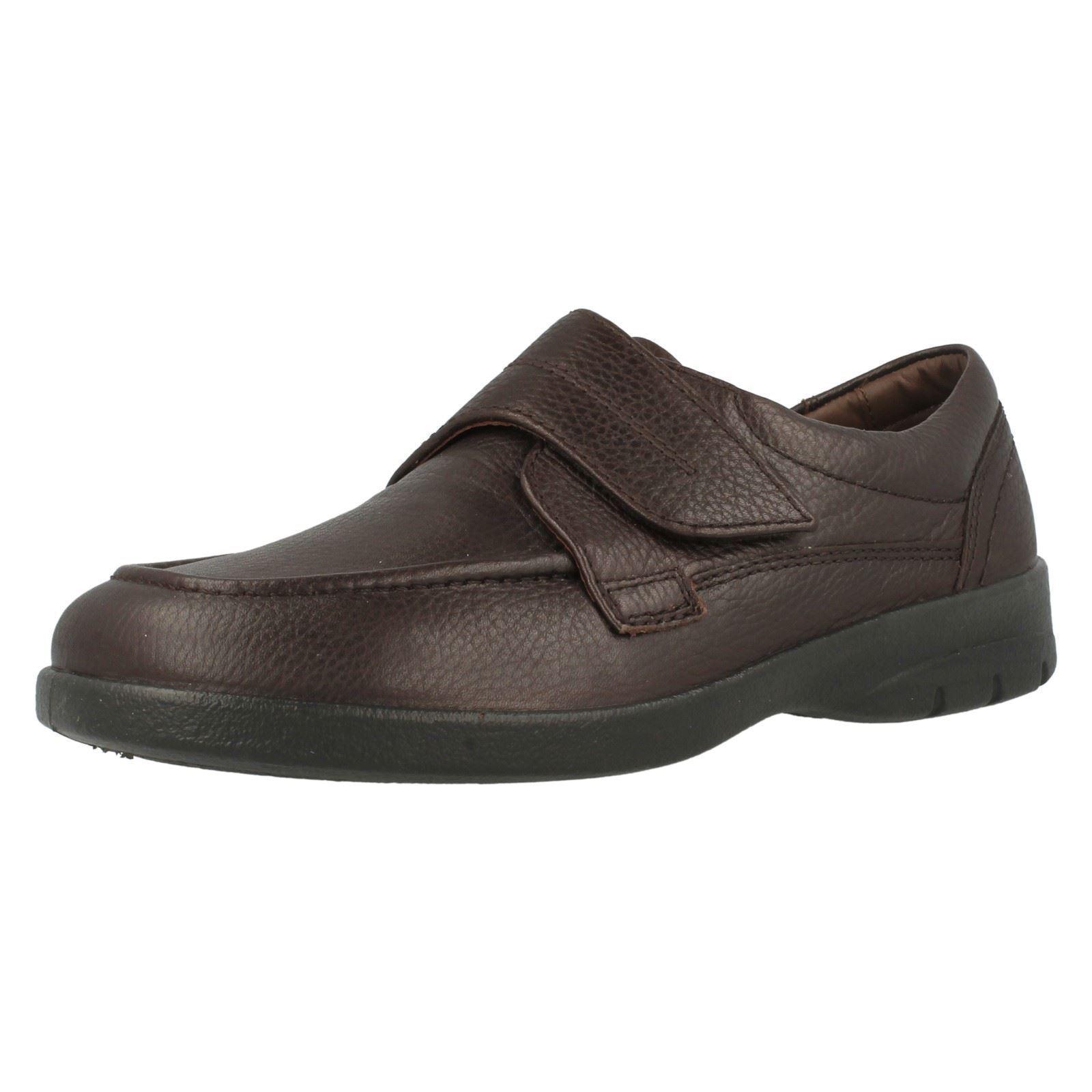 HOMBRE CUERO MARRÓN CIERRE ADHESIVO Zapatos Padders Informal Doble Ajuste Zapatos ADHESIVO Solar 6d3e1c
