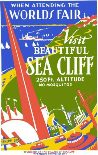 BEAUTIFUL SEA CLIFF WORLDS FAIR WPA 1939 GLOSSY POSTER PICTURE PHOTO NEW YORK