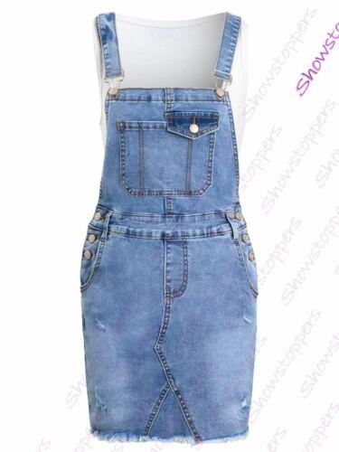 Womens Dungaree Dress Stretch Denim Skirt Dungarees Size 6 8 10 12 14 Denim Blue
