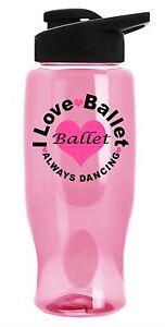I Love Ballet- PINK Dance Water Bottle with Flip Top Lid