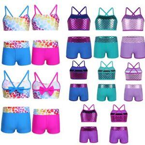 2PCS-Girls-Gymnastics-Tops-Bottoms-Tankini-Outfit-Swimwear-Swimsuit-Bathing-Suit