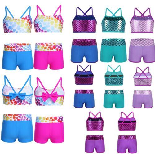 US Girls Toddler Tankini Outfit Mermaid Leotard Tops+Bottoms Workout Swimwear