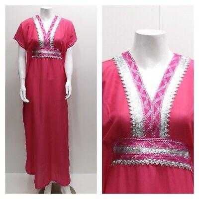 Kaftan Maxi Dress Moroccan Abaya Dubai Long Arabian Farasha Eid one size 8-20 UK