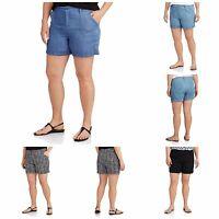 Faded Glory Women's Plus-size Casual Cuffed Soft Shorts Light Weight 100% Rayon