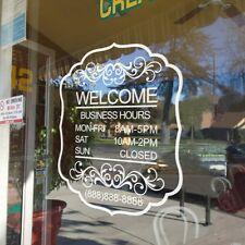 Custom Business Hours Sticker Phone Number Vinyl Hair Salon Door Shop Art Decor