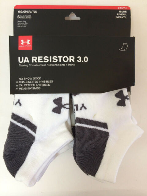 0e97661bbb65 6 Pair Under Armour Youth Boys Resistor No Show Socks Sz Large 1-4 White  Gray
