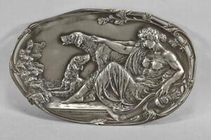 k60r08- Jugendstil Zinn Platte Diana mit Hunden wohl WMF um 1900