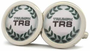 Triumph-TR8-Plata-Acabado-Pulido-Mancuernillas-Nuevas