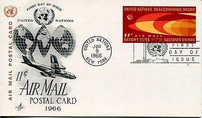 1966 United Nations New York Reguläre Ausgabe Post Karte Kunst Cachet Unar Fdc Spezieller Kauf