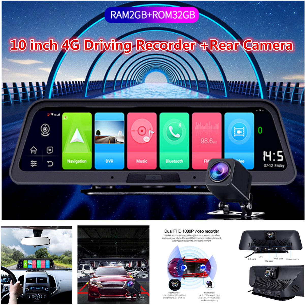 """Auto Dvr 10/"""" Touch Android 5.0 GPS FHD 1080P Video Recorder Mirror WIFI 3G NEW"""