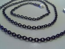 John Hardy Mens Unisex Sterling Silver Black Stainless Steel Cable Rolo Chain 24