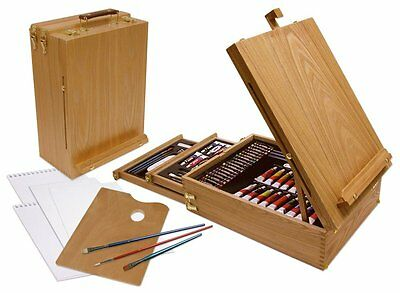 150 Piece Media Easel Watercolor Oil Paint Brush Art Supply Case BestDealer