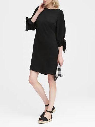 Banana Republic Women/'s Black Tie Sleeve Shift Dress Size 8