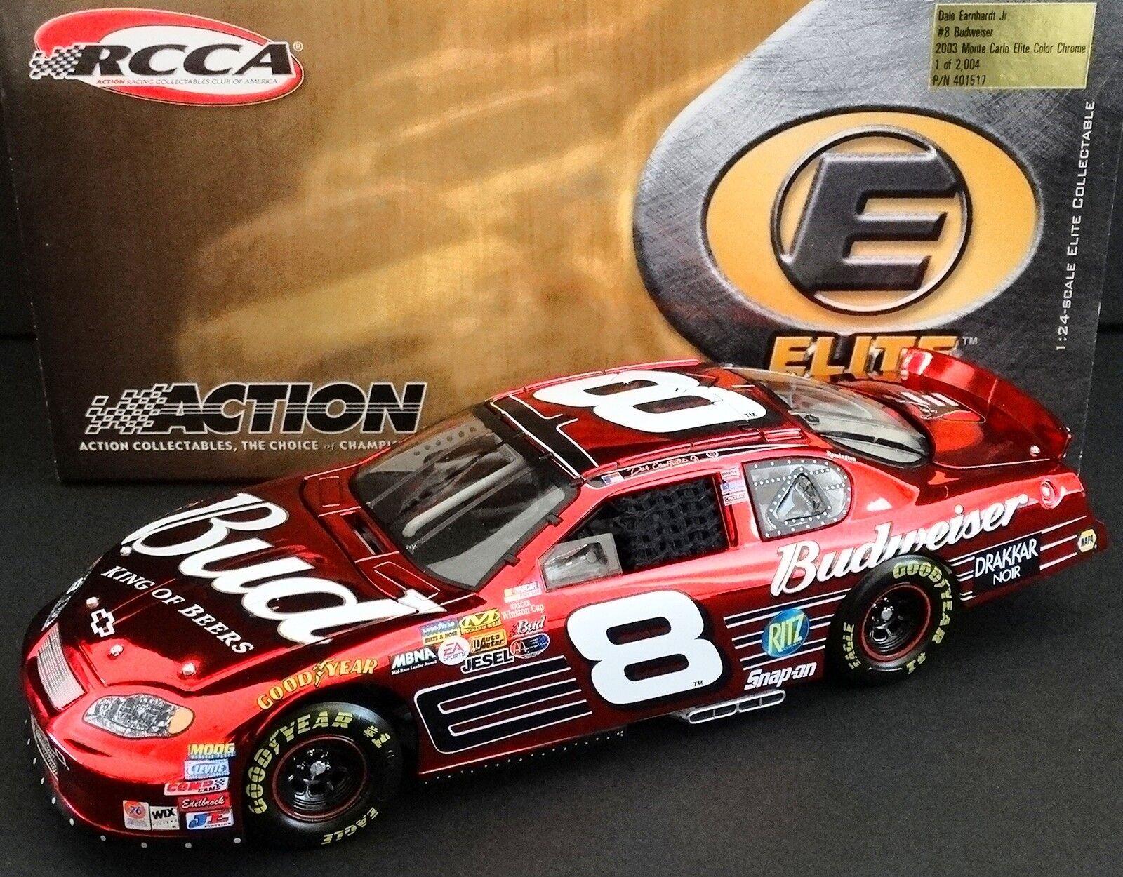 Dale Earnhardt, Jr.  8 Budweiser 1 24 RCCA  ELITE Couleur CHROME 2003 MC 1188 2004  prix équitables