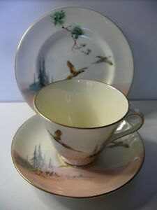 ROYAL-ALBERT-THE-COPPICE-PHEANTS-TRIO-CUP-SAUCER-PLATE-BONE-CHINA-ENGLAND-V2105