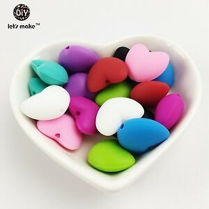 40pc silicone beads Small Heart shaped shape Craft DIY Pendant Jewelry Making