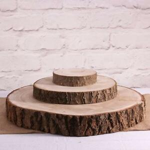 Natural Wood Log Slice Tree Bark Table Centerpiece