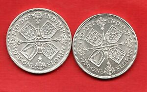 2-X-GEORGE-V-SILVER-FLORIN-COINS-DATED-1935-amp-1936-TWO-SHILLINGS-IN-NICE-GRADE
