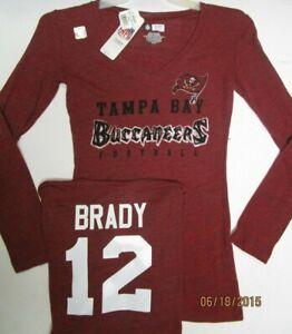 Tom Brady Tampa Bay Buccaneers Bucs Team Nfl Womans Long Sleeve V Neck Shirt Ebay