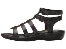 Clarks 231473 Womens /'Manilla Parham/' Black Leather Flat Sandals Shoes Size 8 M