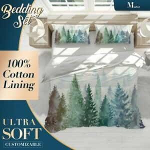 Pine-Forest-Kids-Colorful-Green-Quilt-Cover-Double-Bed-Single-Queen-King-Size