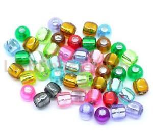 300-Mix-Acryl-Rocailles-Perlen-Glasperlen-Seed-Beads-7x7mm-L-P