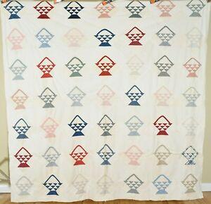 Beautiful Vintage 40's Improved 9-Patch Antique Quilt Top ~VIBRANT FABRICS!