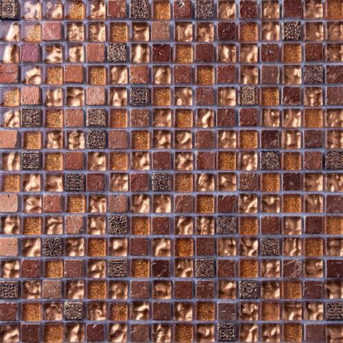 Gold Glass /& Brown Stone Mosaic Tile Sheet 300x300x8mm MT0158