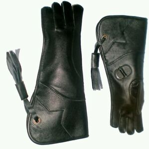 Eagle-and-Falconry-Glove-4-Layers-Nubuck-Leather-16-Inches-Long-Shiny-Black