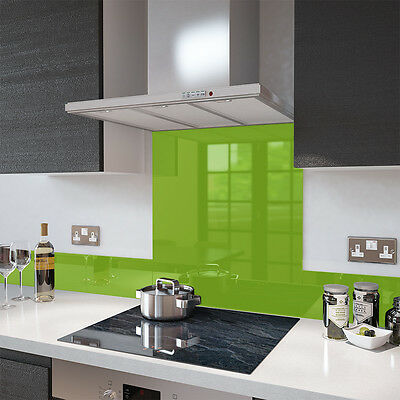Lime Green - Glass Splashback UPSTAND In 140mm X 1500mm Heat Resistant